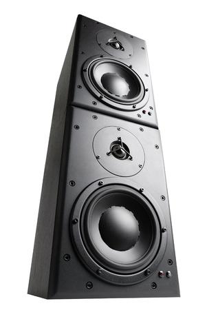 hangos: Modern fekete hangszóró magasodó tetején egymásra, elszigetelt, műterem lövés Stock fotó