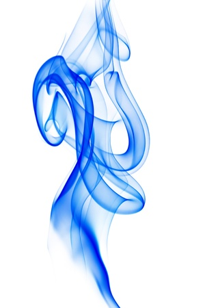 nicely: Blue smoke in nicely flowing shape isolated on white background