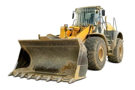 Dusty big bulldozer, isolated on pure white background photo