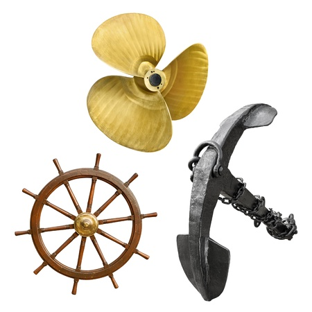 Vintage ship propeller, anchor and steering wheel in a set, isolated on white background photo