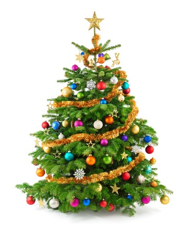 coniferous tree: Joyful studio shot of a Christmas tree with colorful ornaments, isolated on white Stock Photo