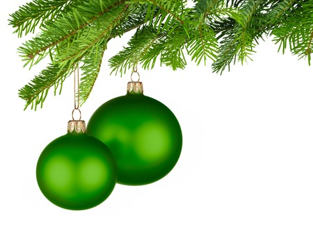 Bright studio shot of two isolated green Christmas baubles hanging from fresh green fir twigs