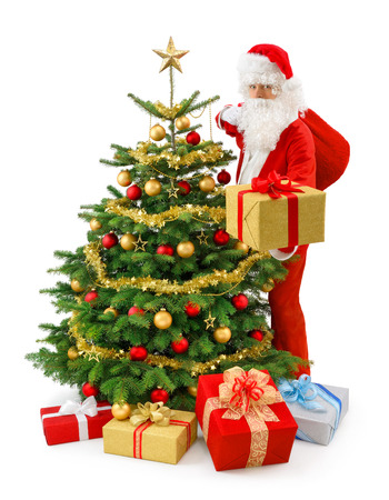 Santa Claus standing beside a gorgeous Christmas tree and presenting a gold gift box Stock Photo