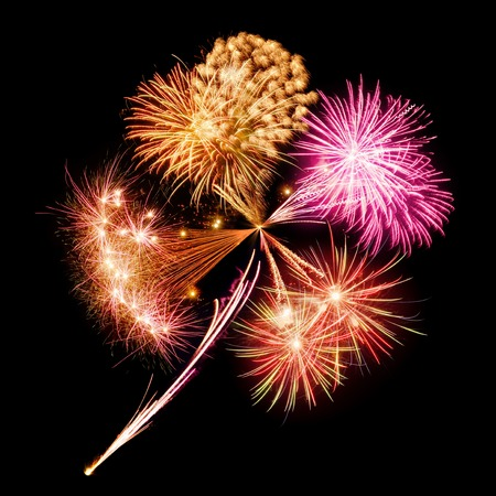 Conceptual composite of joyful new year fireworks in the shape of a lucky clover leaf Stock Photo - 24695203