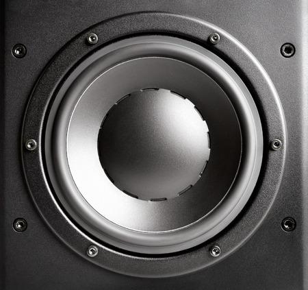 home audio: Bass loudspeaker closeup, black, studio shot