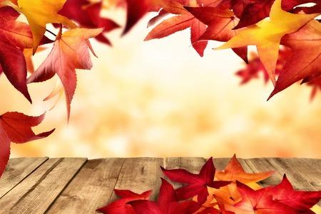 hojas secas: Escena del oto�o con las hojas rojas colgando y acostado en una mesa de madera como un marco a un fondo desenfocado de oro
