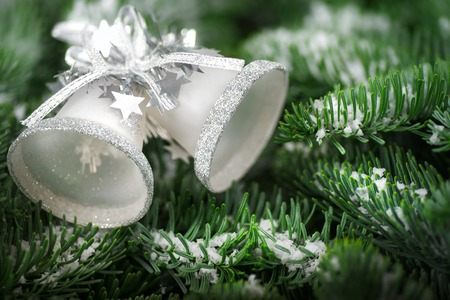 Silver Christmas bells on snow covered fresh fir twigs, studio shot with shallow focus photo