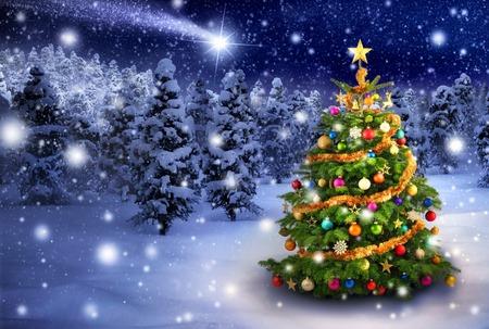 Magnífico colorido al aire libre árbol de Navidad en una noche nevada con una estrella fugaz en el cielo, para el estado de ánimo perfecto de Navidad Foto de archivo