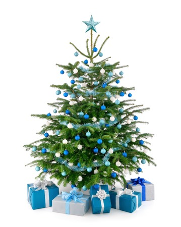 Stylish studio shot of a beautiful lush Christmas tree decorated in blue and silver photo