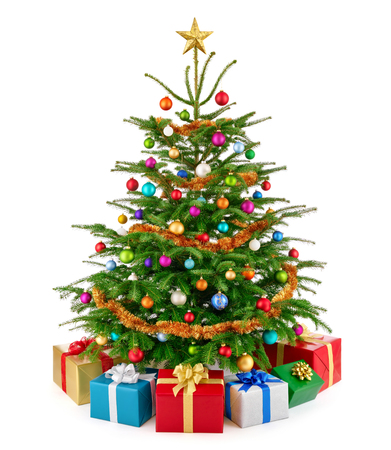 Bright and colorful studio shot of a fresh lush Christmas tree with multi-colored gift boxes arranged in front of it and a gold top star, isolated on pure white photo