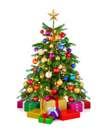 Joyful studio shot of a colorful lush Christmas tree shining in vibrant colors, with gold star on top and gift boxes arranged in front of it, isolated on pure white background