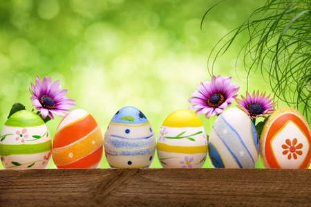 Colorful Easter eggs in a row, decorated with spring flowers and long grass, with beautiful green bokeh background photo