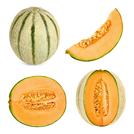 honeydew: Collage set of 4 studio shots of a Cantaloupe melon, also referred to as honeydew, cut in different shapes, isolated on white background Stock Photo