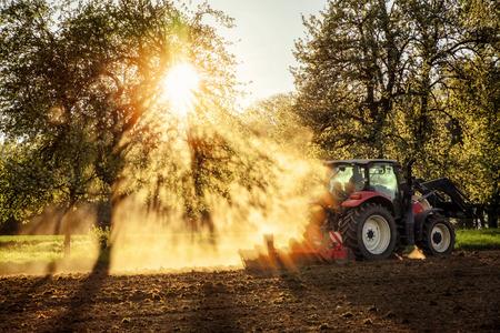 Tractor ploegen een veld bij zonsondergang in het prachtige zonlicht vallen door bomen en stof met licht en schaduw effecten, geen logo's of gezichten