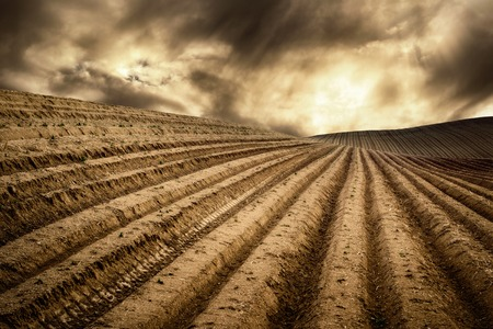 Landscape with moody light shows a hill with many tracks on dry fields leading to the horizon and a dramatic cloudscape