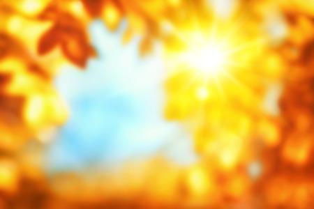 青い空をフレーミング、金と赤の葉を通して輝く太陽を示す光沢のある鮮やかな幸せな色で秋の背景をデフォーカス