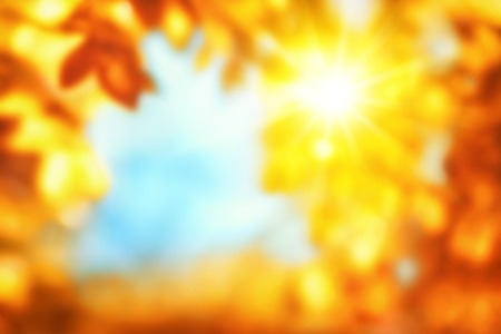 Defocused autumn background with shiny vivid happy colors showing the sun shining through gold and red leaves, framing blue sky Standard-Bild