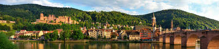 Panorama of Heidelberg, Germany, showing the Old Bridge and the Castle in the best daylight Stock Photo