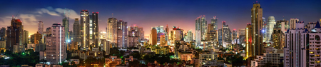 City of Bangkok, Sukhumvit skyline night shot panorama