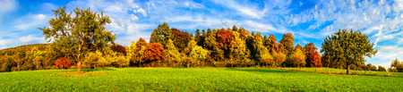 Wide panorama landscape shot of a green meadow with colorful trees and blue sky in autumn