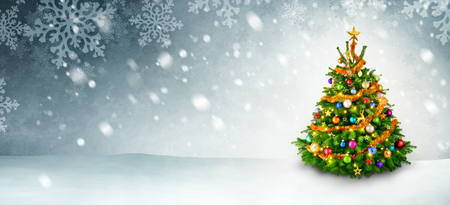 Colorful shiny Christmas tree on a panoramic snow background with copy space Stock Photo
