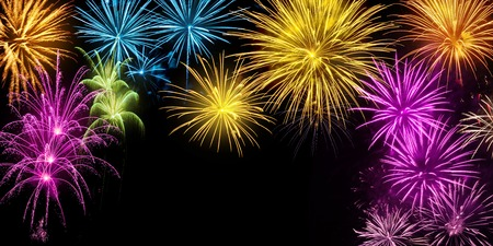Gorgeous multi-colored fireworks on black background with copy space, ideal for New Year or other celebration events
