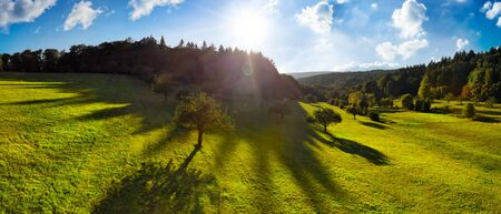 Panoramic aerial landscape in the morning: contrasty scenery with the sun in the blue sky, trees on green meadows casting long shadows, and dark forests on hills on the horizon Archivio Fotografico