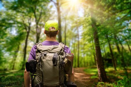Male hiker with a backpack exploring a path in a green forest with the sun shining above, shallow focus Archivio Fotografico