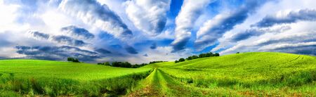 Panoramic rural landscape with idyllic vast green fields on hills and fascinating cloudscape Reklamní fotografie