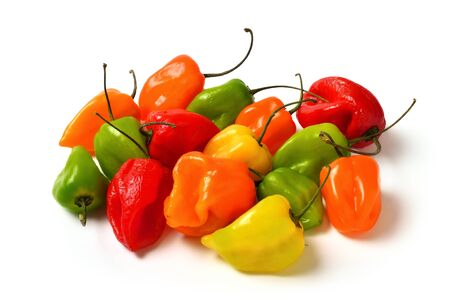 Colorful hot small chili peppers isolated in studio on white, in red, yellow, orange and green
