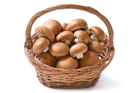 Basket full of fresh raw champignon mushrooms ready to be prepared for a healthy delicious meal, studio isolated on white