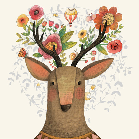 cartoon bouquet: Incredible deer with awesome flowers. Lovely spring concept design in vector. Sweet deer and flowers made in watercolor technique
