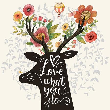 Amas lo que haces. Increíble silueta de venado con impresionantes flores en cuernos. Diseño de concepto encantador de la primavera en vector. Ciervos dulces y flores hechas en técnica de acuarela Foto de archivo - 45442472