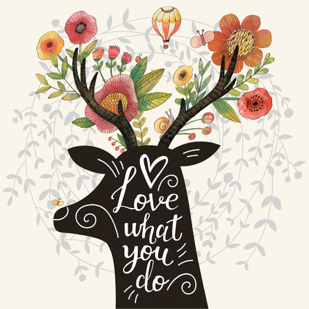 cartoon bouquet: Love what you do. Incredible deer silhouette with awesome flowers in horns. Lovely spring concept design in vector. Sweet deer and flowers made in watercolor technique