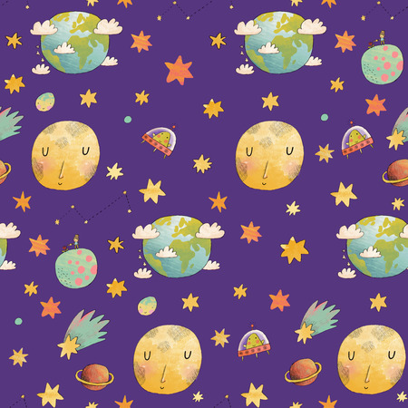 ufology: Awesome cosmic seamless pattern with earth, moon, ufo, stars and comets. Lovely little boy on planet in water color technique. Bright childish background about solar system in cartoon style