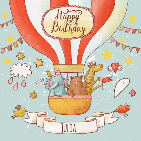 party animal: Lovely happy birthday card in bright summer colors. Sweet animals: elephant, bear and giraffe in air balloon in the sky. Awesome personalized childish background in vector