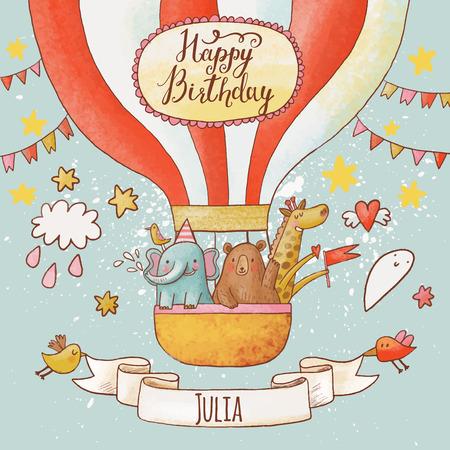 Preciosa tarjeta de cumpleaños feliz en colores brillantes de verano. Animales Dulce elefante, oso y jirafa en globo de aire en el cielo. Impresionante fondo infantil personalizada en el vector Vectores
