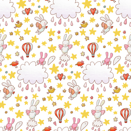 Fantastic childish background made of cartoon signs: lovely rabbits, hearts, stars, clouds and air balloon in the sky. Sweet congratulation card in vector. Awesome seamless pattern in cartoon style