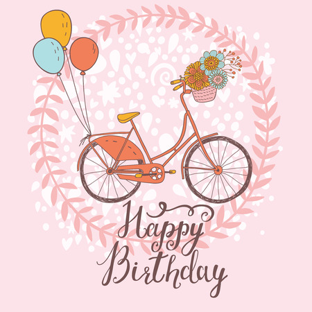 pink bike: Happy birthday card in bright colors with bicycle, floral wreath, air balloons and flowers in vector