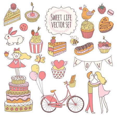 amantes: Dulce conjunto de vectores de colores impresionantes. Tortas, sabrosos pastelitos, eclair, con chocolate y bayas en el estilo de estilo vintage. Tarjeta preciosa del vector con el par de amantes, p�jaros, conejos y bicicleta inconformista
