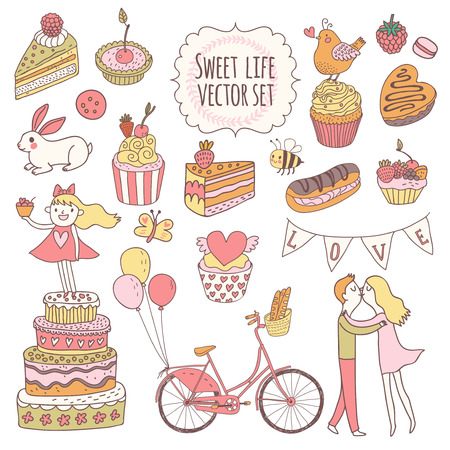 cartoon kiss: Sweet vector set in awesome colors. Cakes, tasty cupcakes, eclair, with chocolate and berries in stylish vintage style. Lovely vector card with couple of lovers, birds, rabbit and hipster bycicle