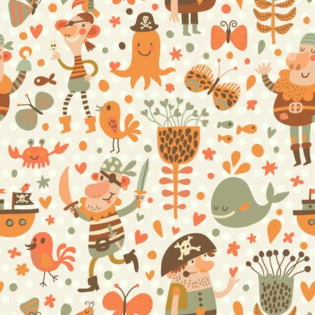Piratas encantadores en dibujos animados patrón transparente. Fondo dulce con los piratas, flores, barco, ballena, cangrejo y pulpo. Modelo inconsútil impresionante en el vector Ilustración de vector