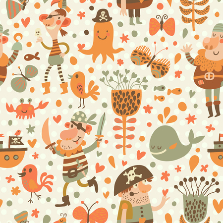cangrejo: Piratas encantadores en dibujos animados patrón transparente. Fondo dulce con los piratas, flores, barco, ballena, cangrejo y pulpo. Modelo inconsútil impresionante en el vector Vectores