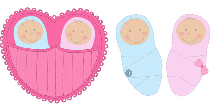 Baby boy and baby girl Illustration