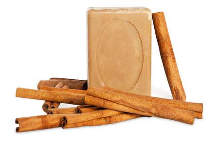 Handmade soap with cinnamon
