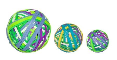 Group of rubber band balls on white background