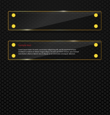 structure metal: Black perforated  background with 2 glass frameworks. Can be used for web design, presentations etc.