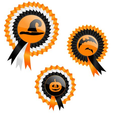 Three ribbon medals with Halloween symbols Vector