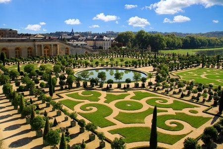 VERSAILLES, FRANCE - OCTOBER 1: Gardens of Versailles Palace on October 1, 2011 in Versailles. The Palace of Versailles is a royal chateau with beautiful gardens and fountains. Editorial