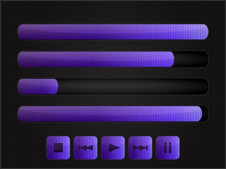 Set of volume scale icons and media control navigation panel